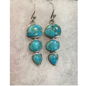 BARSE Sterling Silver 925 Turquoise Drop Earrings